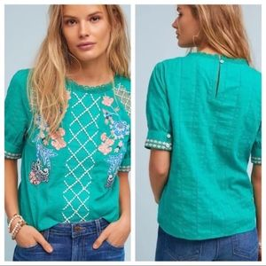 Anthropologie Green Perennial Embroidered Top